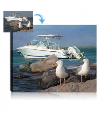 Boat Portrait Painting from Photo