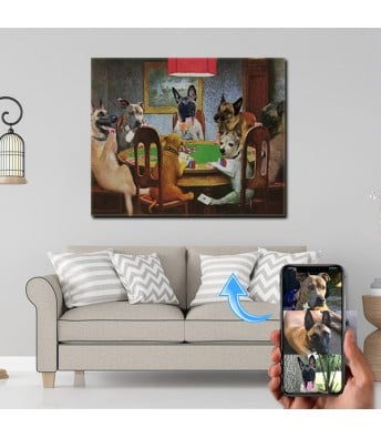 Turn you dog photo into a custom dog playing poker portrait.